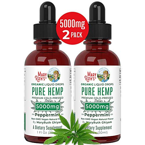 (2 Pack) Organic Pure Hemp Oil Extract 5000mg by MaryRuth's for Pain & Stress Relief - Powerful for Ingestible & Topical Use - Non-GMO - Vegan - Plant Based - Sugar-Free - Peppermint - 1 oz (2 Pack) (Best Medical Cannabis For Chronic Pain)
