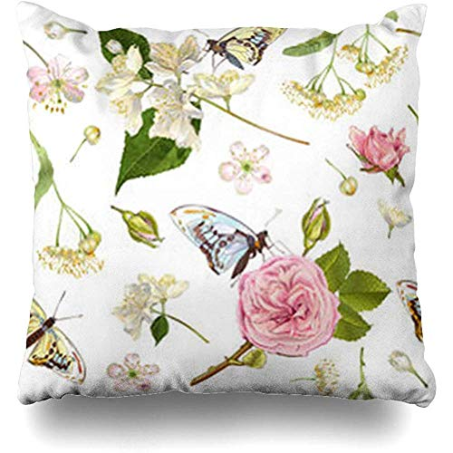 Throw Pillow Case Herbal Botanical Rose Linden Jasmine Flowers Butterflies for Tea Health Natural Cosmetics Perfume Care Decor Home Pillow Cover Square Size 18 x 18 Inches Pillowcase