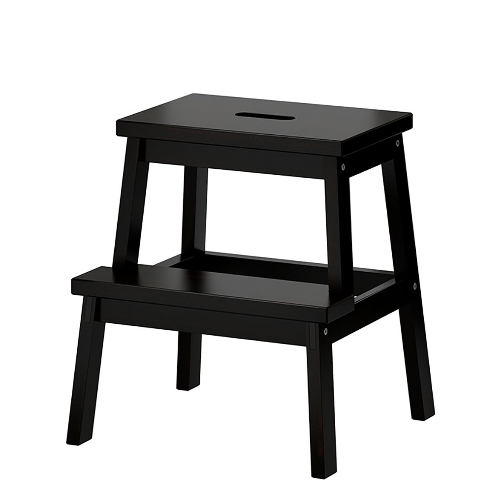 Solid Wood Ladder Stool Multifunctional Stool Foot Stools/Changing Shoes Folding Chairs with 2 Steps (Colour;Black)