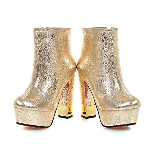 Mujeres Botines Áspero Tacón alto Zapatos Impermeable Cabeza redonda PU artificial Otoño invierno Noche Club nocturno Oro