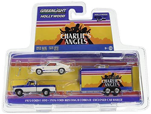 Greenlight 1972 Ford F-100 Pickup Truck & 1976 Ford Mustang II Cobra II & Enclosed Car Hauler Charlie's Angels (1976-1981) TV Series 1/64 Diecast Models 31070 A ()