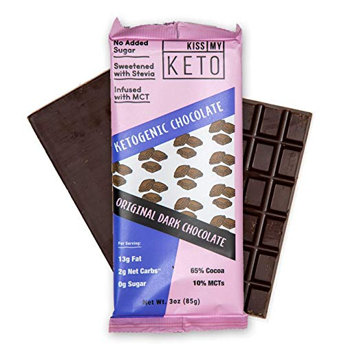 - Kiss My Keto Low Carb Keto Dark Chocolate Keto Snack, (4x 3 oz Bars per Pack) A Perfect Sweet Treat with MCT Oil for Ketogenic Diet Support Sugar-Free, Keto Friendly Foods - No Artificial Ingredients