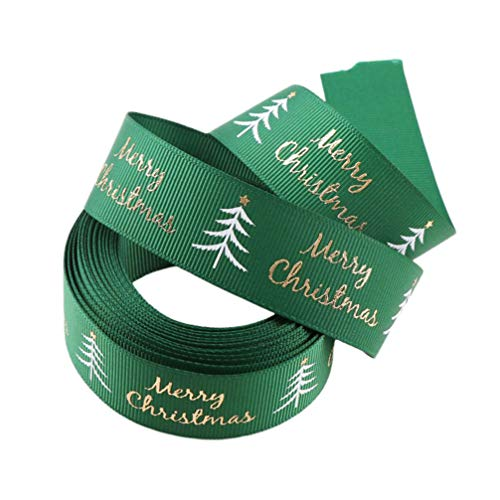 Amosfun Merry Christmas Tree Wired Ribbon Wire Gift Wrap Ribbons Holiday Wrapping Package Ribbon DIY Crafts Holiday Xmas Decor