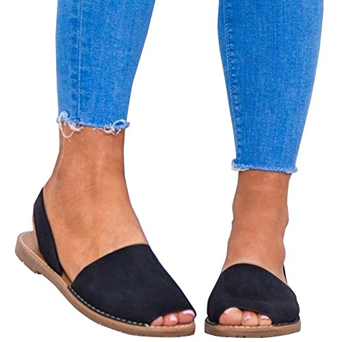 Rainlin Women's Casual Summer Slip On Espadrille Sandals Slingback Flat Shoes Size 9 Black