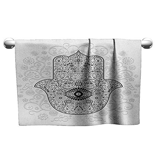 xixiBO Baby Bath Towel W24 x L8 Hamsa,Divine Protection Magical Good Luck Charm on Gentle Floral Spring Backdrop, White Black Gray Hand/Guest ()