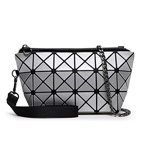 Find Me Matt Brushed Fabric Geometric Clutch Bag Japanese Stitching Folding Package Silver