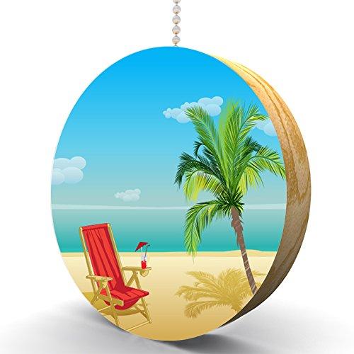 Beach Paradise Hardwood Oak Fan /