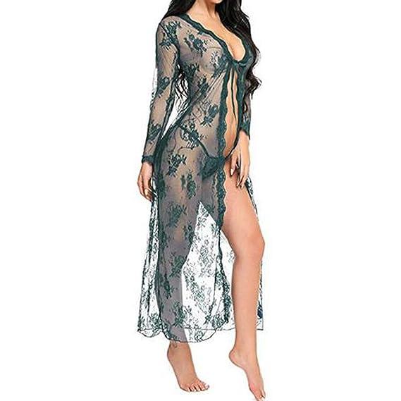 e79ec6e2b6032 Lenfesh Lingerie pour Femme Robe Longue en Dentelle Sexy Robe Transparente  Voir à Travers Une Robe Kimono