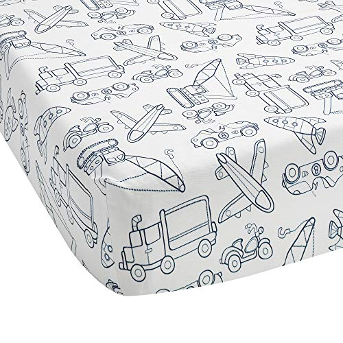 Lambs & Ivy Metropolis Cotton Fitted Crib Sheet - Blue, White, Transportation