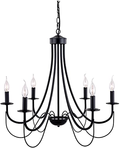 LUMAIXUN Black Chandelier Lighting 6 Light Pendant Lighting