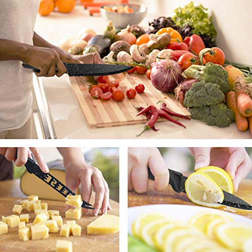HOBO 17-Piece Knife Set, Stainless Steel Chef Knife Set with Acrylic Block Professional Non-Slip Handle, Kitchen Scissors, Cooking, Black Knife Sets by HOBO (Image #3)