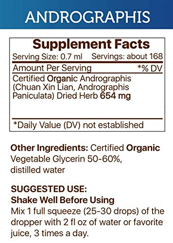 Andrographis Tincture Alcohol-Free Extract, Organic Andrographis Chuan Xin Lian, Andrographis Paniculata Immune System Health 2x4 OZ by Secrets of the Tribe (Image #1)