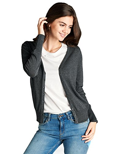 Emmalise Women's Classic V-Neck Button Down Cardigan Sweater,Charcoal,Large