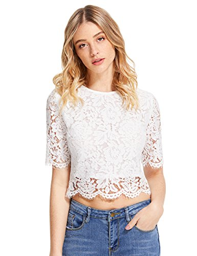 MakeMeChic Women's Short Sleeve Sexy Sheer Blouse Mesh Lace Crop Top White - Lace Embroidered Crochet