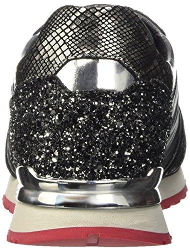 Bikkembergs Damen Numb-er 741 Scarpa Bassa Con Laccetto / Nylon / Glitter Pumps Grigio (grigio / Argento)