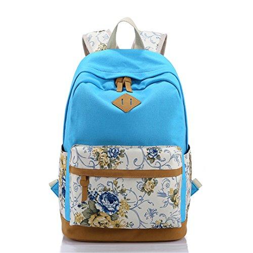 SHUB Canvas Floral Printing Satchel Rucksack Backpacks School Bags For Teenage Girls Women Backpack Mochila Escolar light blue