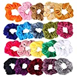 Velvet Scrunchies, CUTEFA 20 Pack Colorful Big Scrunchies for Hair Large Velvet Hair Ties Scrunchy Bobble Hair Bands