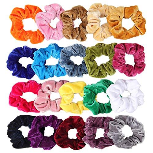 (Velvet Scrunchies, CUTEFA 20 Pack Colorful Big Scrunchies for Hair Large Velvet Hair Ties Scrunchy Bobble Hair Bands)