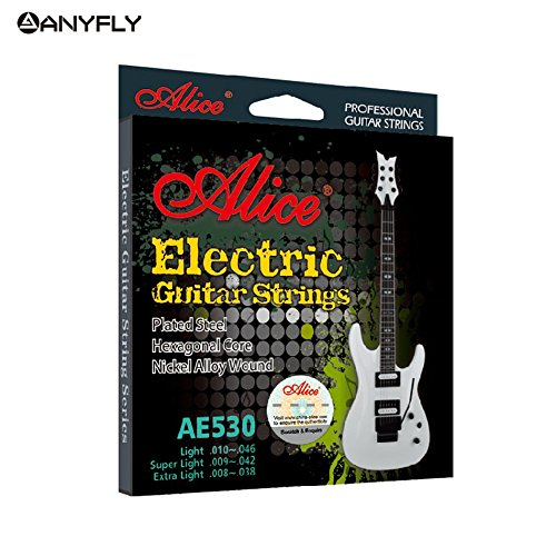 Arshily - Original Electric Strings 1st-6th AE530 008-038/009-042/010-046 Nickel Alloy Wound Music Wire Set for Ur Choice [ AE530L ] ()