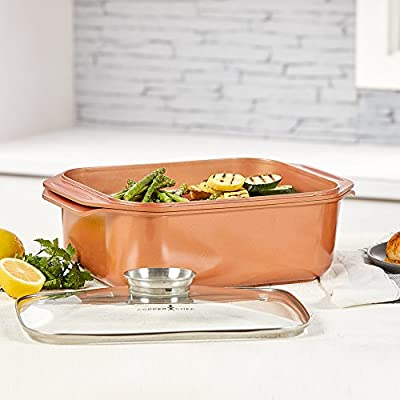 14 In 1 Multi-Use Copper Chef Wonder Cooker with roasting pan and lid, Multi-Use Grill pan