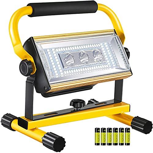 WOERD LED Baustrahler 100W, Arbeitsleuchte Wiederaufladbare, Superhell LED Fluter IP65 Wasserdicht Bauscheinwerfer…