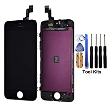 cellphoneage For iPhone 5S New LCD Screen Replacement Black Display Glass Touch Screen Digitizer Assembly kit With Free Repair Tool Kits