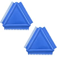 uxcell® Wood Grain Tool 4 inch Triangle Rubber Graining Pattern Scraper Tool for Wall Painting Decoration DIY MS14 Blue 2pcs