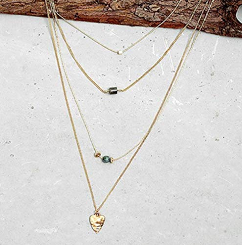 HNJingWomen Trendy 4 Layer Gold Chains Charm Necklace Heart Natural Bead Pendant Collar Necklace Jewelry, Gold