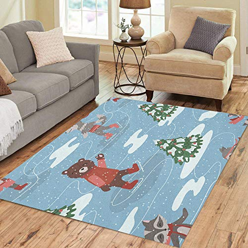 Semtomn Area Rug 3' X 5' Blue Ice of Skating Animals Red Bear Black Bow Home Decor Collection Floor Rugs Carpet for Living Room Bedroom Dining Room
