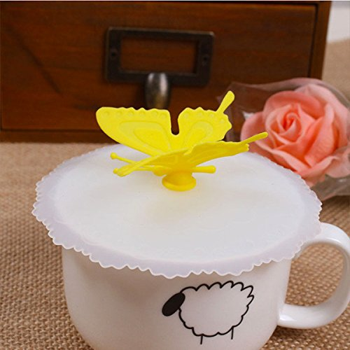 Drinkware & Tea Sets - Novelty Silicone Bottle Cup Mug Lid Cover Cartoon Butterfly Cup Cover - Cupful Underwrite Transfuse Insure Loving Hide Masking Concealment Covert Screening Binding - 1PCs