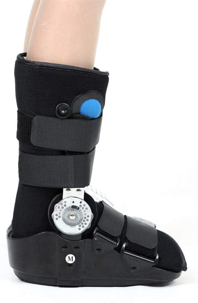 Botas cortas de andador de fracturas, protector de fijación de piernas para adultos, soporte para la correa del tobillo, fijador ortopédico para dormir-black-L