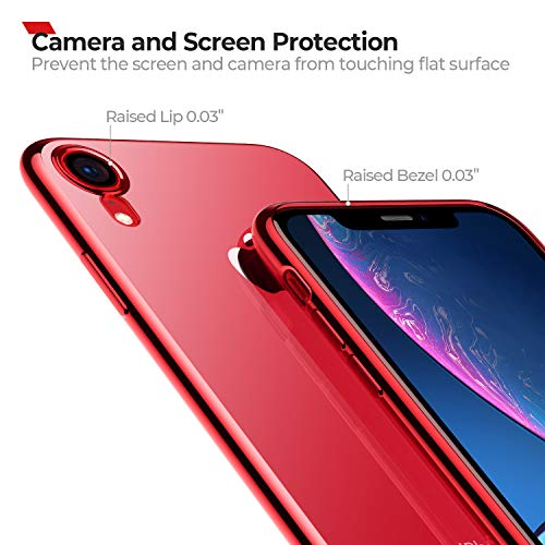 RANVOO Clear iPhone XR Case, Soft Silicone Cover with Red Electroplated Bumper Thin Slim Fit Case for iPhone XR 6.1 Inch (2018), Crystal Red