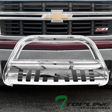 Chevy Grille Guards (Topline Autopart Polished Stainless Steel Bull Bar Brush Push Front Bumper Grill Grille Guard With Skid Plate V2 For 14-17 Chevy Silverado / Tahoe / Suburban ; GMC Sierra / Yukon / XL 1500)