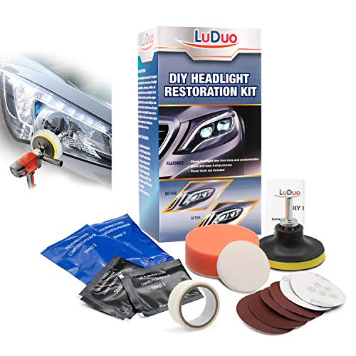 LuDuo DIY Headlight Restoration Kit,Headlamp Polishing Clean Paste Systems Car Care Wash Head Lamp Brightener Repair Auto Accessories