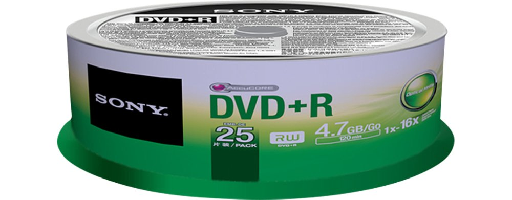 Sony 25DPR47SP 16x DVD+R 4.7GB Recordable DVD Media - 25 Pack Spindle by Sony