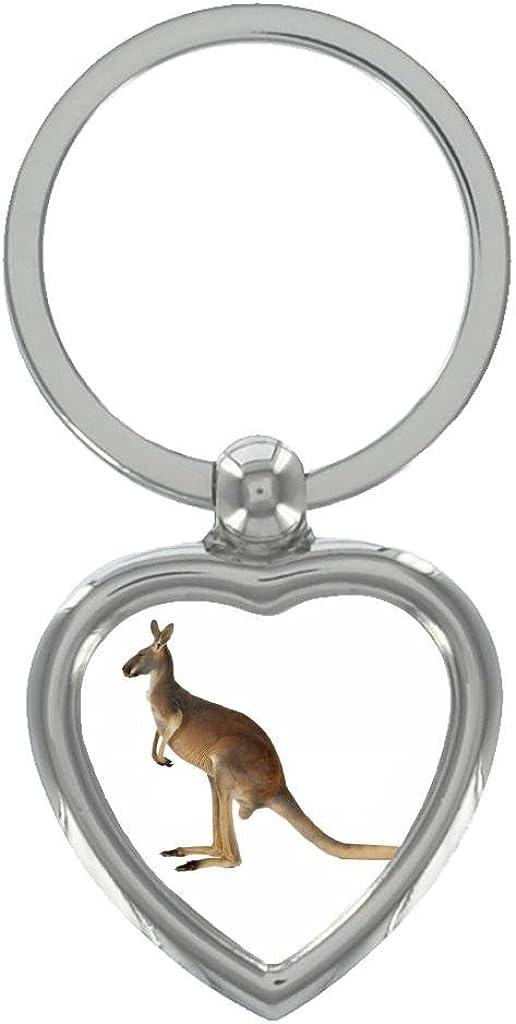 Kangaroo Image Design Heart Shaped Keyring in Gift Box