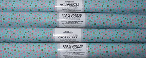 4 FAT QUARTERS LT TURQUOISE DOTTED PINK & GREEN 100% COTTON ~ SEWING, QUILTING, ART
