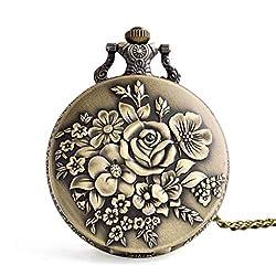 NszzJixo9 Vintage Retro Pocket Watch - Flower Pocket Watch Quartz Necklace Chain Men Women for Girls Gifts, Pattern Steampunk Retro Vintage Quartz Roman Numerals Pocket Watch