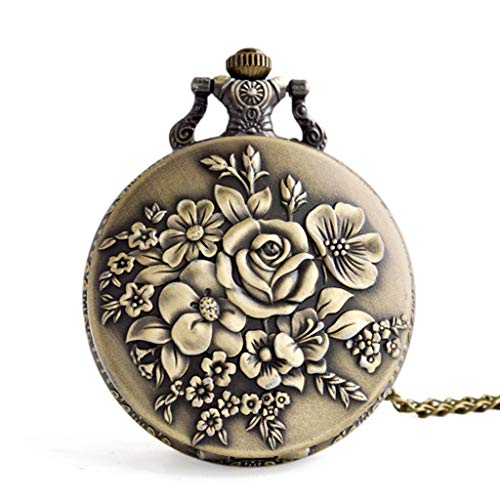 Clearance Sale!UMFunVintage Flower Pocket Watch Quartz Necklace Chain Men Women For Girls Gifts]()
