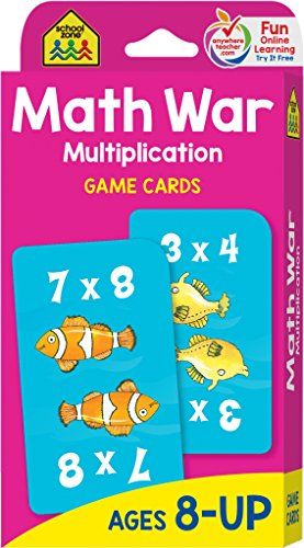 School Zone - Math War Multiplication Game Cards - Ages 8 and Up, Grades 3 to 5, Math Games, Beginning Algebra, Multiplication Facts & Tables, and More (Grandparents Day Cards For Kids To Make)