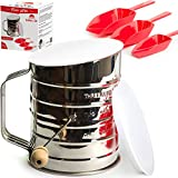 Kitheea Flour Sifter 3 Cup Stainless Steel - Perfect Sifter for Baking with Super Fine Almond Flour - Powdered Sugar Duster Sifter - Lid and Bottom Cover - Ebook Bonus