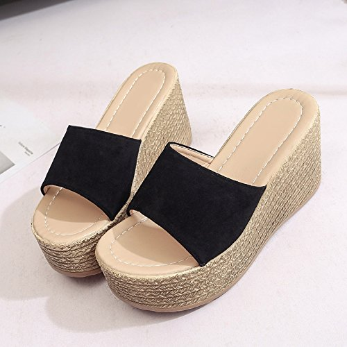 Slope Wearing Slippers Fashion Heeled Thick with and Female fankou High 37 Black Summer Cold f0RxxZ