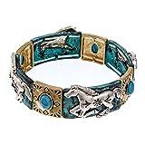 PammyJ Tri-Tone Western Horse with Imitation Turquoise Stretch Bracelet