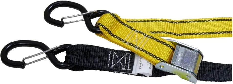 2-Pack Black /& Yellow Basics Tiedown Set with Integrated Soft Loops 2,110lb Break Strength