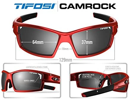 Tifosi Golf Camrock Wrap Sunglasses, Metallic Red, 143 mm