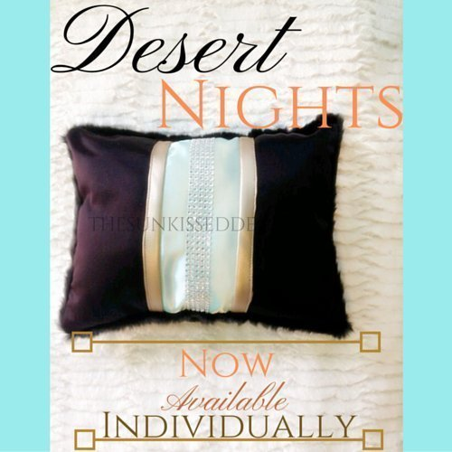Desert Crystals Black and Turquoise Satin and Black Faux Fur Throw Pillow (Individual Pillow)