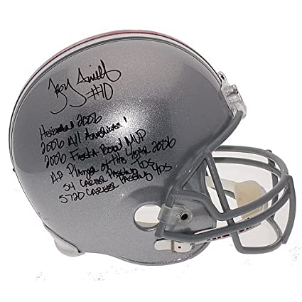 a1070278321 Image Unavailable. Image not available for. Color  Troy Smith Autographed  Ohio State Buckeyes Career Stat Full Size Replica Helmet - Certified  Authentic