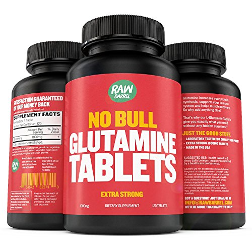 Raw Barrel's - Pure L Glutamine Tablets - 120 Pills at 1000mg - SEE RESULTS OR YOUR MONEY