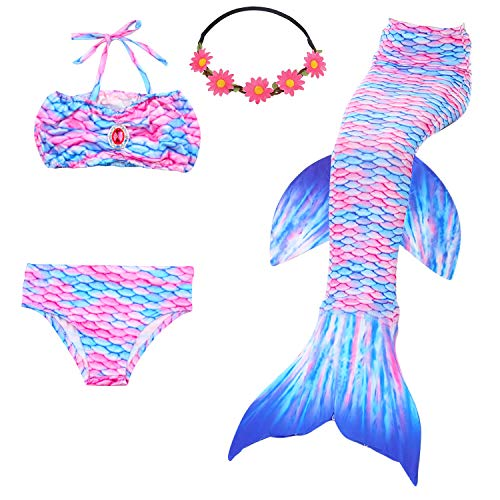 Mermaid Tail Kids Swimmable Swimsuit Costume Child for Swimming for Girls, 9-10 Years, Angel Fish ()