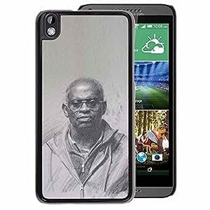 A-type Arte & diseño plástico duro Fundas Cover Cubre Hard Case Cover para HTC DESIRE 816 (Black King History Priest God Culture)